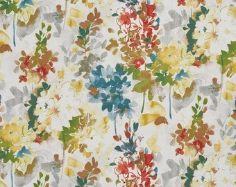 Rainbow Vibrant Flowers Cotton Print Upholstery Fabric By The Yard | Pattern # B0306B
