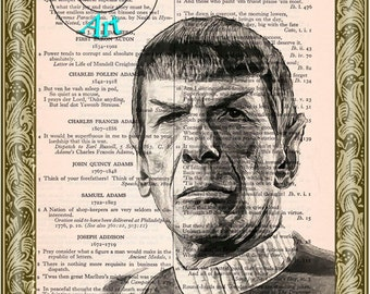 Admiral Spock Black & White Drawing Art Beautifully Upcycled Vintage Dictionary Page Book Art Print, Star Trek Print