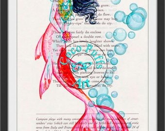 Red Mermaid HDR Art Beautifully Upcycled Vintage Poetry Page Book Art Print, Fantasy Art Print