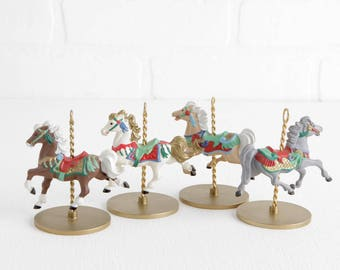 Vintage 1989 Hallmark Carousel Horse Ornaments, Set of 4 with Snow, Star, Holly, and Ginger