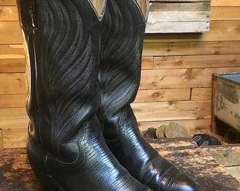Vintage FRYE Black Leather Red & Grey Stitched Cowboy Western Boots Men's 9.5 D