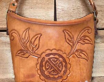 Vintage Tooled Handbag Vtg Brown Leather Fortune Cookie Bag with MW Monogram Initial
