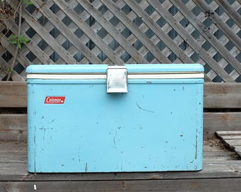 Original 1950s Coleman Picnic Camping Cooler, Ice Chest, Pastel blue - Vintage metal blue cooler - Coleman Ice Chest