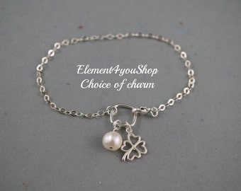 Sterling silver bracelet four clover leaf charm starfish lucky charm jewelry Friendship Friends gift luck charm freshwater pearl Best friend