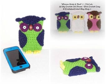 BOLD Whimsy Crochet Owl Cell Phone IPod Cozy Crochet Owl Cell Phone Cozy Case IPod Cover IPhone Crochet Owl Cozy Owl Phone Case IPod Pouch