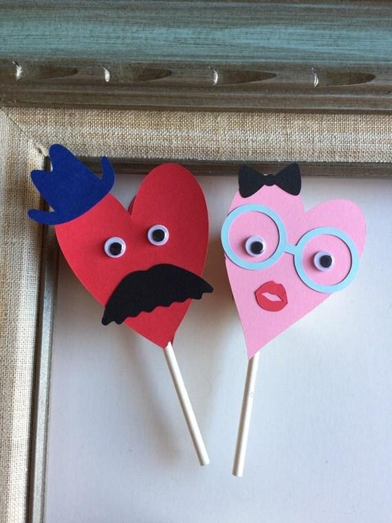 School Class Party Kit Kids Mustache Valentine Card Lollipop