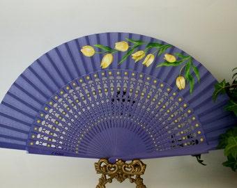 Yellow tulips, Hand painted folding fan, Spanish, Free shipping to USA