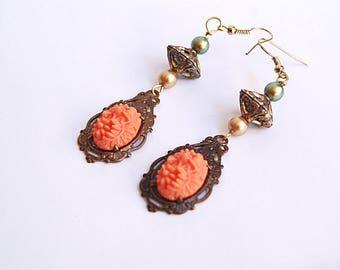 Vintage style brass metal Swarovski freshwater pearl earrings