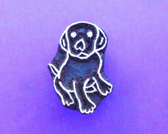 Puppy Dog Hand Carved Wood Stamp Animal Indian Print Block