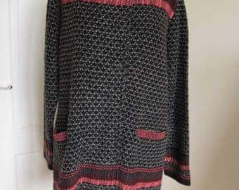 Vintage Style Red Black Wool Acrylic Knitted Cardigan Coat L