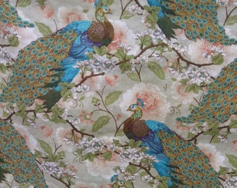 Peacock Fabric/ Majestic English Peacocks per yard/ Makes Quilts/Home Decor accents/Crafts Projects/ Apparel