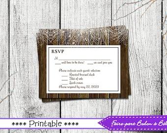 Wedding RSVP - RSVP card - printable card - printable RSVP - wedding printable -  Digital printable