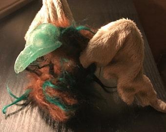 Green and Brown Black Bird Skull Art Doll