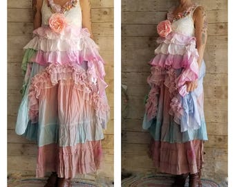 Pink Sunshine Shabby asymmetric floral lace layered anthropologie peasant repurposed country ruffled Boho altered mori maxi Dress upcycled