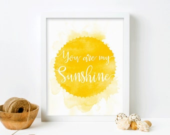 You Are My Sunshine Wall Art, Framed Nursery Print, Christmas Gift for Kids, Framed Art, Art for Kids Room, Nursery Wall Art