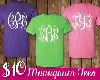 BLACK FRIDAY DEAL Monogram Shirt Personalized Short Sleeve Monogram T-Shirt Shirt Monogram Tee