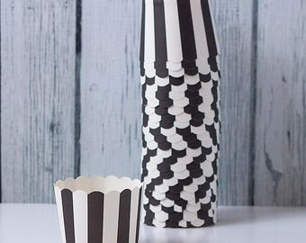 White and Black Stripes  - Baking Cups for Cupcakes, muffins, Dessert & Nuts - Set of 24 - Wedding and parties supplies