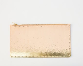 Metallic Leather Zipper Clutch Pouch Vegetable Tanned Gold Foil