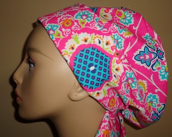 Woman's Hair wrap , Scrub Cap , Flower , bright pink