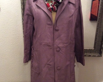 Vintage ladies lilac leather coat.