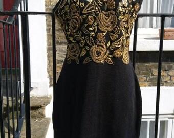 Authentic vintage ladies pure wool sequin dress