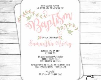 Pink Floral Baptism Invitation