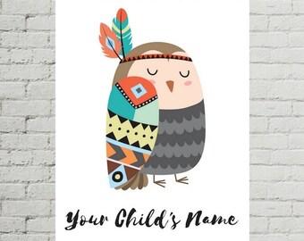 Personalized Printable, Owl Printable, Personalized Prints, Customizable Print, Customizable Art, Personalized Gift, Custom Name Print
