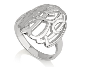 Monogram Initial Ring - Circle Custom Made Ring with any initials you wish - 925 Sterling Silver
