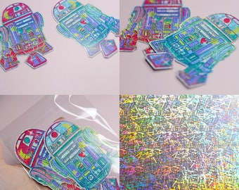Pastel R2D2, Starwars Style Holographic Mini Sticker Pack