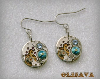 Steampunk Earrings  Vintage Mechanical Watch Movement and Blue Zircon Aurore Boreale  Swarovski crystals , Clockwork Earrings , Steampunk