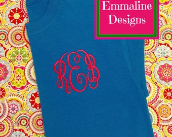 Embroidered Monogrammed Tee - Short Sleeve T-shirt