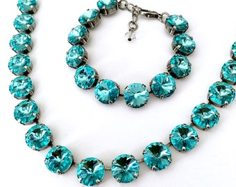 New • Turquoise Blue • Swarovski Crystal Bracelet • Austrian Crystal 12mm