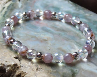 Auralite 23 & Angel Aura Bracelet or Anklet for Good Karma, Angelic Realms, Peace, Light, Joy, 7 Chakras, Serenity, Optimism and Protection!