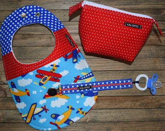 Airplane Baby Bib, Baby Boy Bib, Pacifier Clip and Pacifier Pouch Gift Set, 6- 12 month baby gift