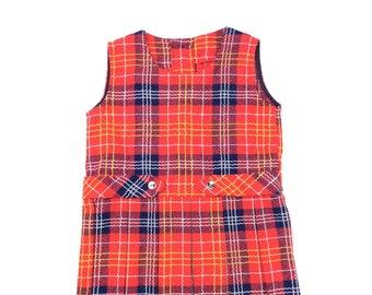 Vintage red tartan plaid dress age 2-3