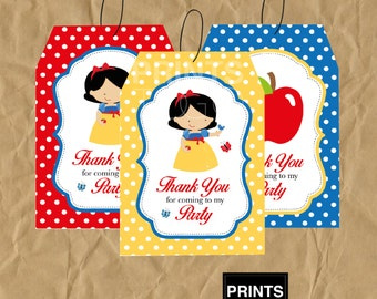 Snow White Thank You Tags, Snow White Favor Tags, Snow White Party, Snow White Party Favors, Party Tags, Snow White