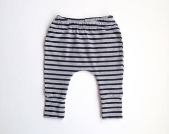 Navy striped harem pants // baby harem pants // toddler harem pants // striped pants // baby boy // baby girl // toddler pants