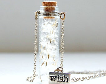 50% OFF Dandelion Wish Bottle Necklace   Make A Wish Necklace   Dandelion Necklace   Autumnal Jewelry   Glass Jar Necklace   Fall Jewelry