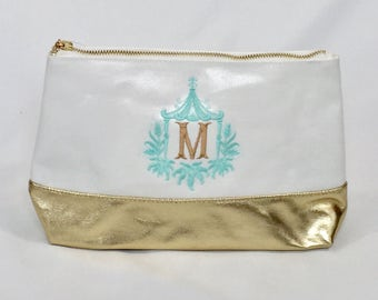 Personalized cosmetic case - gold silver monogrammed waxed canvas makeup bag - personalized clutch - personalized bridesmaids gift - tassle