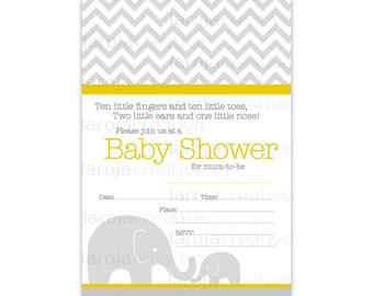 Yellow Chevron Elephant Baby Shower Fill-In Invitations