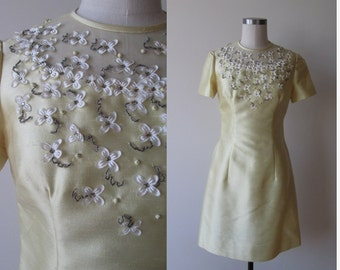 60's shift dress pale yellow with rhinestones beads and flowers size 8