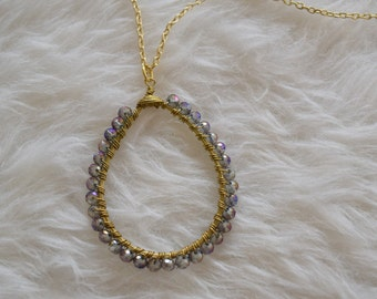 Metalic Light Blue & Purple with Gold Beaded Dangle Necklace