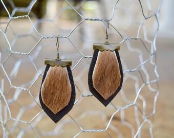 Sawyer Earrings in Black and Cowhide