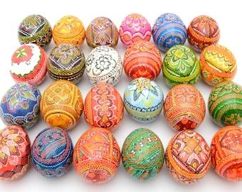 Set of 24 Wooden Ukrainian Pysanky Pysanka Easter Painted Eggs. Polish Pisankі. Czech Kraslice. (art. 2047)