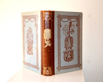 Antique German Story Book Der Liebe Augustin / German Book O Dear You Augustin / Antique Decorative Book / Blue Gold Old English Font Book