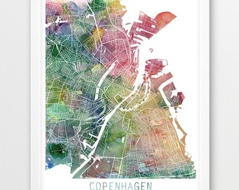 Copenhagen City Urban Map Poster, Copenhagen Street Map Print, Watercolor Copenhagen, Denmark, Modern Wall Art, Home Decor, Printable Art