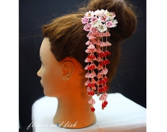 hair accessories for pink wedding-Wedding bridal hair flower pin-kanzashi flower, Japanese hair flower, geisha hair piece