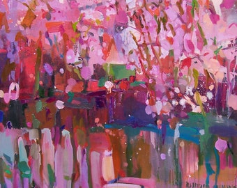 """Interior Original oil painting -  """"Spring"""" - Fine art - abstract expressionism painting - Large oil painting"""
