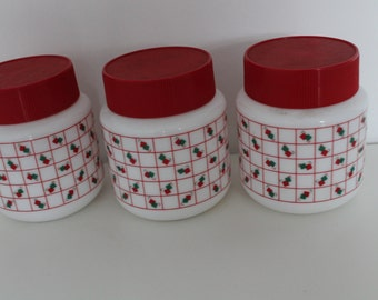 Set of 3 Pyrex Containers / Jars / Canisters 80s pattern Red White Green