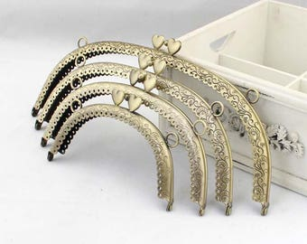 1 PCS, Various Sized Curved Heart Shape Beaded Kiss Clasp Lock Purse Frame, K167